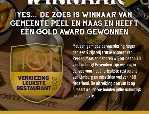 Winnaar leukste restaurant van Peel en Maas